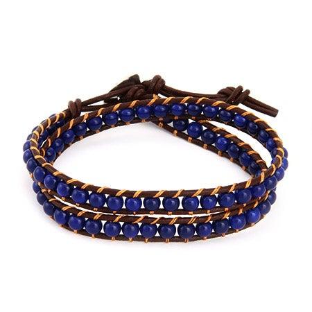 Chen Rai Sapphire Blue Bead Wrap Bracelet on Brown Leather | Eve's Addiction®
