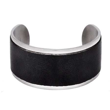 Engravable Stainless Steel Wide Black Leather Cuff Bracelet | Eve's Addiction®
