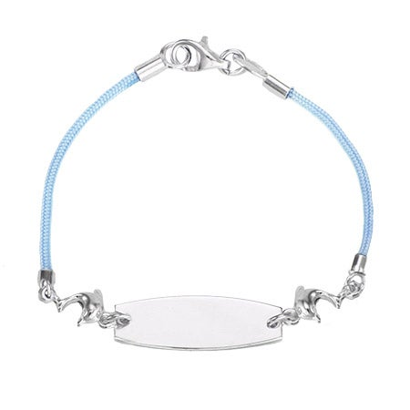 Kid's Blue Silk Cord ID Bracelet with Dolphin Charm | Eve's Addiction®