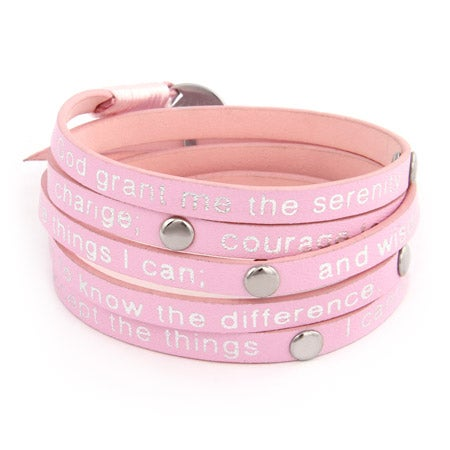 Pink Serenity Prayer Wrap Bracelet | Eve's Addiction®