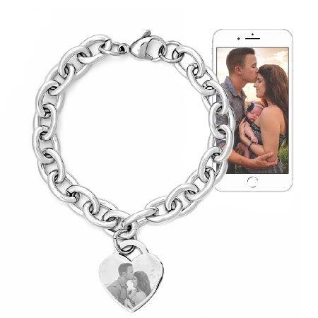 Stainless Steel Heart Charm Photo Bracelet   Eve's Addiction
