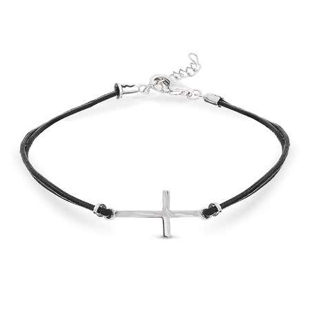 Sideways Cross Black Leather Bracelet