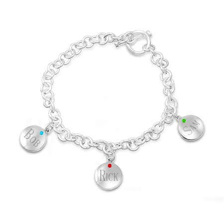 Grandchildren jewelry for grandma personalized birthstone bracelet with engravings