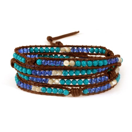 Chen Rai Turquoise and Crystal Mix Wrap Bracelet | Eve's Addiction®