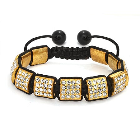 Golden Ice Crystal Square Cut Shamballa Inspired Bracelet | Eve's Addiction®
