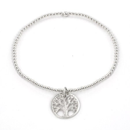 Sterling Silver Beaded Tree of Life Charm Bracelet | Eve's Addiction®