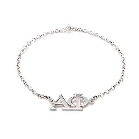 Alpha Phi Letter Bracelet with Sterling Silver Rolo Chain | Eve's Addiction®