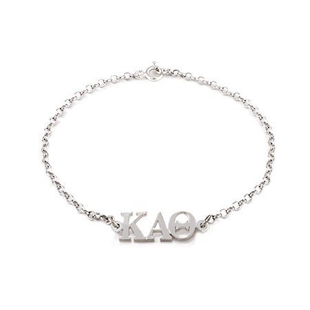 Kappa Alpha Theta Sterling Silver Letter Bracelet - Officially Licensed Product