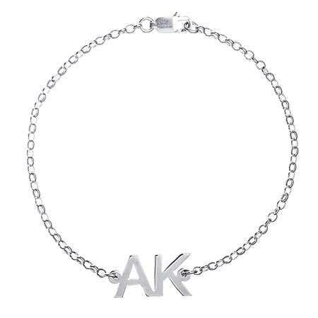 Two Initial Sterling Silver Bracelet
