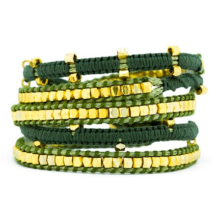 Olive Green and Gold Beaded Wrap Bracelet | Eve's Addiction®