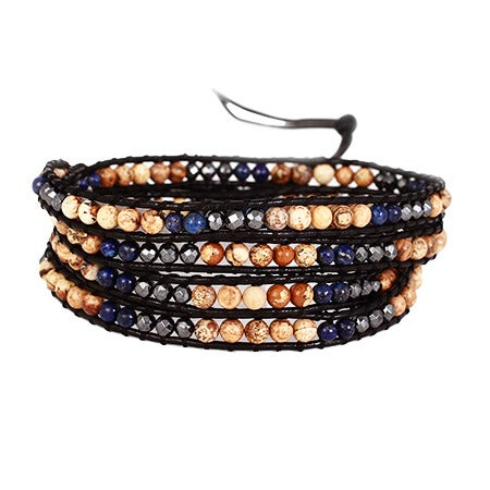 Chen Rai Blue Lapis and Brown Jasper Wrap Bracelet | Eve's Addiction®