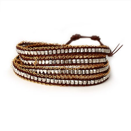 Chen Rai Brown Wrap Bracelet with Silver Nuggets | Eve's Addiction®