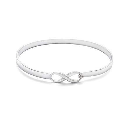 Engravable Sterling Silver Infinity Bangle Bracelet