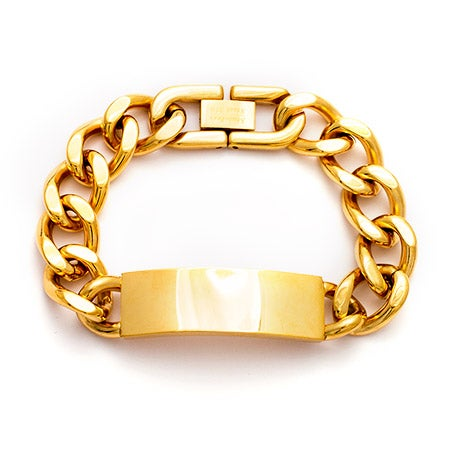 Engravable Ladies Gold Plated Curb Chain ID Bracelet | Eve's Addiction®