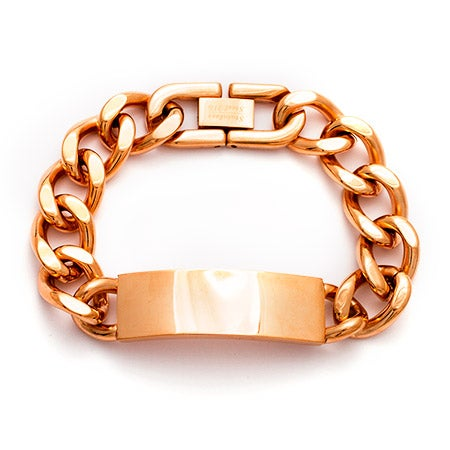 Engravable Ladies Rose Gold Plated Curb Chain ID Bracelet | Eve's Addiction®