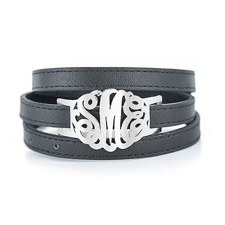 Where can you buy personalized leather bracelets and monogrammed leather wrap bracelets