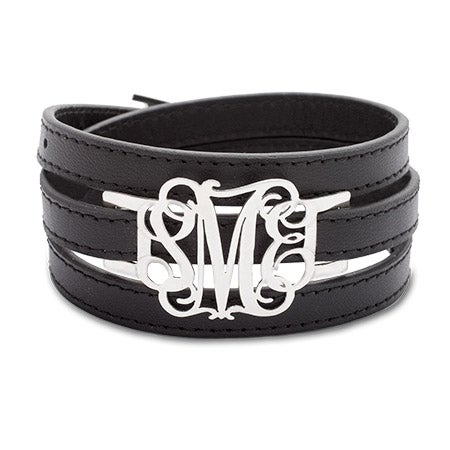 Silver 3-Initial Script Monogram Leather Wrap Bracelet | Eve's Addiction®