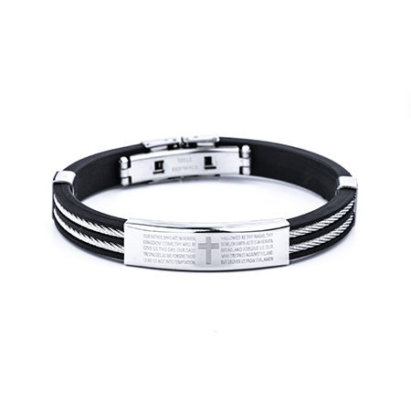 Men's Lord's Prayer Black Bracelet with Cable Band | Eve's Addiction®