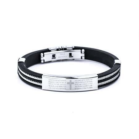 Men's Lord's Prayer Black Bracelet with Cable Band