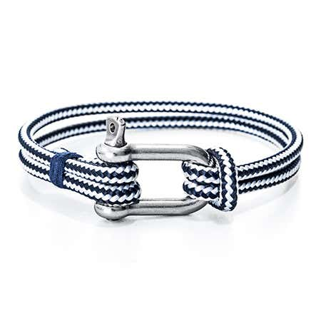Miguel Chapino Navy Blue Nautical Rope Shackle Bracelet | Eve's Addiction®