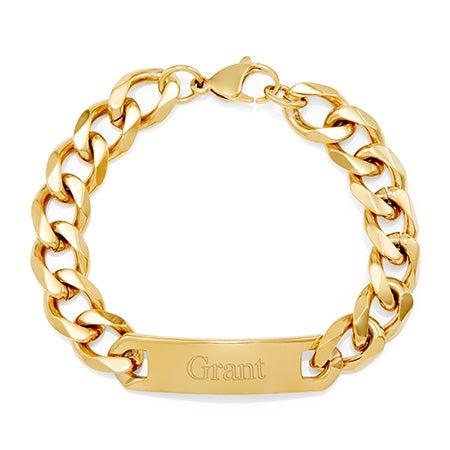 Men's Gold ID Engravable Bracelet with Curb Links   Eve's Addiction®