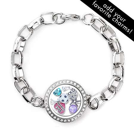 display slide 1 of 2 - Diamond CZ Round Floating Charm Locket Bracelet - selected slide