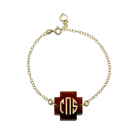 Acrylic Block Monogram Cross Bracelet | Eve's Addiction®