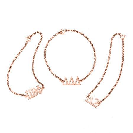 Sorority Greek Letter Bracelet in Rose Gold   Eve's Addiction®