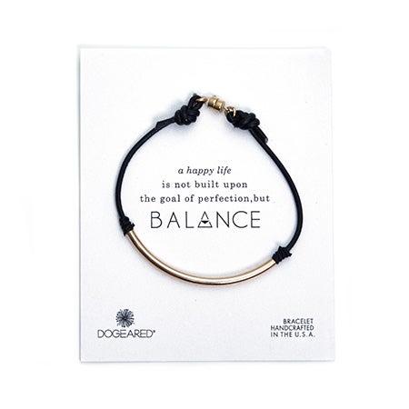 Dogeared Balance Black Leather Gold Dipped Tube Bracelet | Eve's Addiction®