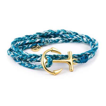 Pura Vida Gold Anchor Aqua Wrap Bracelet | Eve's Addiction®