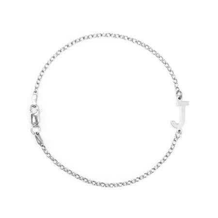 Sideways Custom Initial Silver Bracelet