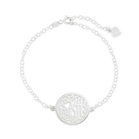 Custom Circle Monogram Sterling Silver Bracelet