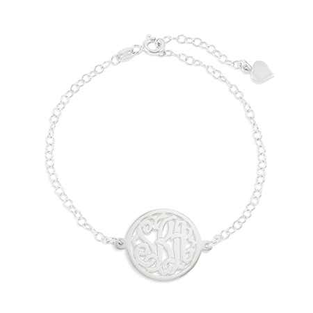 Custom Circle Monogram Sterling Silver Bracelet