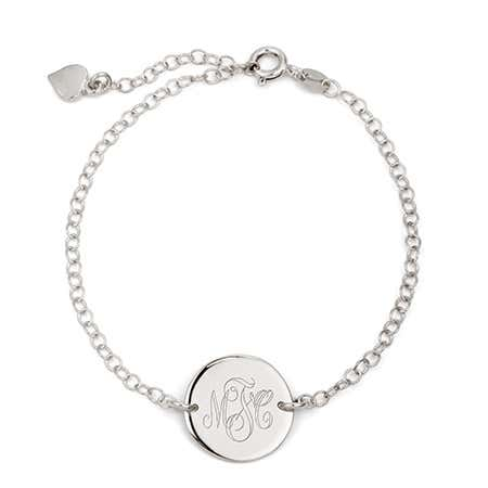 Sterling silver monogram link bracelet with engravable monogram disc from eves addiction