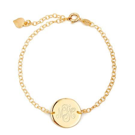 Engravable Monogram Gold Disc Bracelet