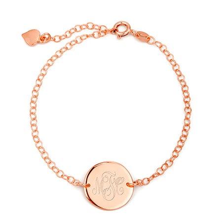 Engravable Monogram Rose Gold Disc Bracelet