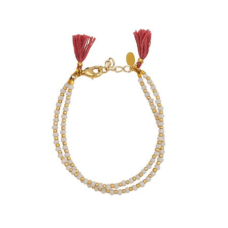 White & Gold Clasp Bracelet with Rose Colored Tassels| Eve's Addiction®