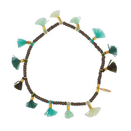 Jamie Lilu Ombre Tassel Bracelet In Green & Teal by Shashi | Eve's Addiction®