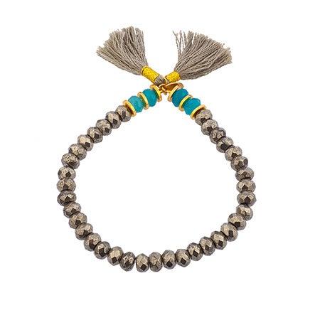 Shashi Joe Stretch Pyrite Bracelet with Turquoise Accents| Eve's Addiction®