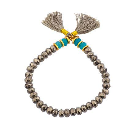 Shashi Joe Stretch Pyrite Bracelet with Turquoise Accents| Eve's Addiction®