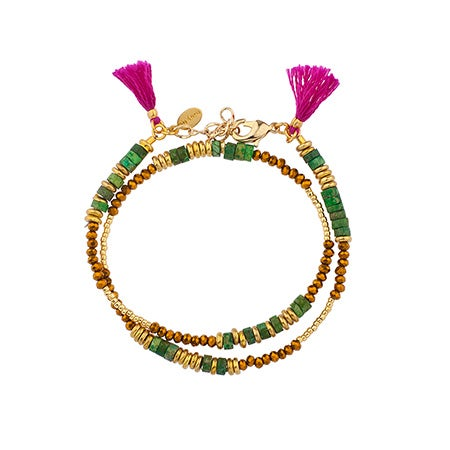 Shashi Farrah Wrap Bracelet / Choker in Emerald with Fuschia Tassels| Eve's Addiction®