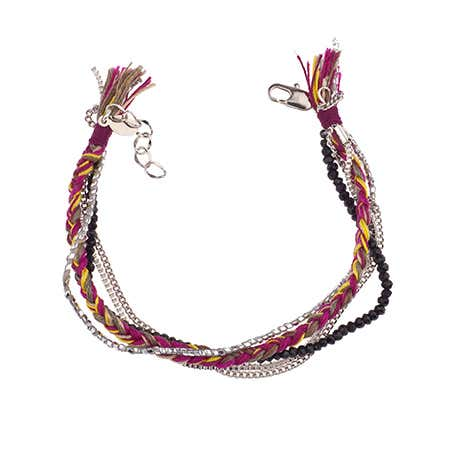 Boho Chic Braid, Bead, & Chain Bracelet by Shashi