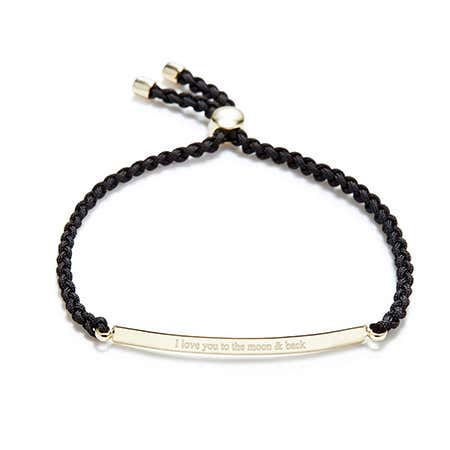 Engravable Gold Dipped Braided Black ID Bolo Bracelet