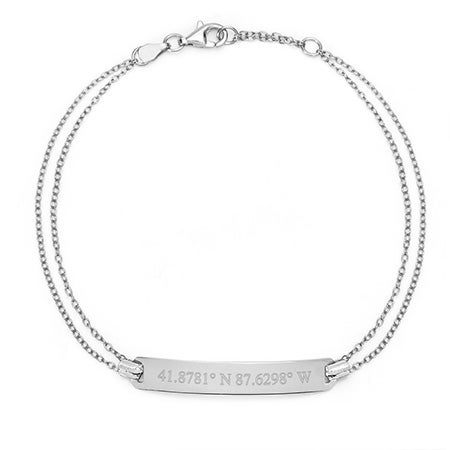 Custom Coordinate Silver Name Bar Bracelet