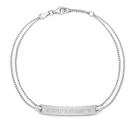 Custom Coordinate Silver Name Bar Bracelet