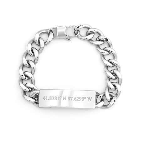 Mens Custom Coordinates Bracelet | Eves Addiction