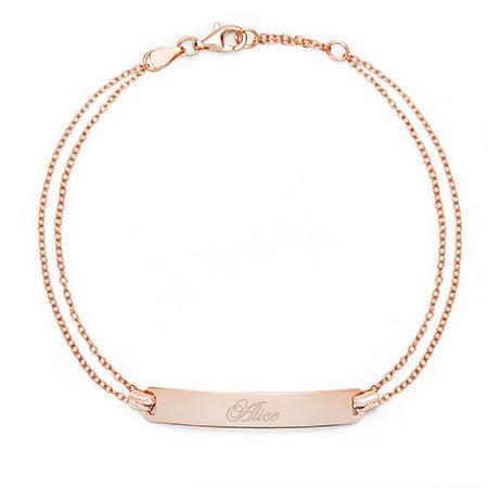 Engravable Name Bar Rose Gold Bracelet