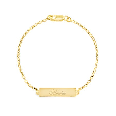 Engravable Name Bar Gold Bracelet