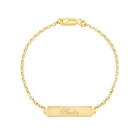 Engravable Name Bar Gold Bracelet