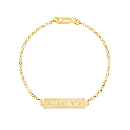 Custom Coordinate Name Bar Gold Bracelet